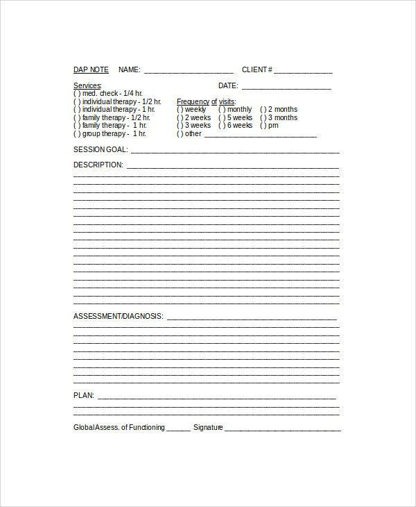 Free Dap Note Template 6 Sample Dap Notes Pdf Doc