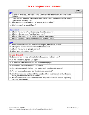 Free Dap Note Template Counseling Treatment Plan Template