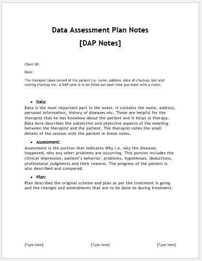 Free Dap Note Template Dap Notes Sheets Templates for Ms Word