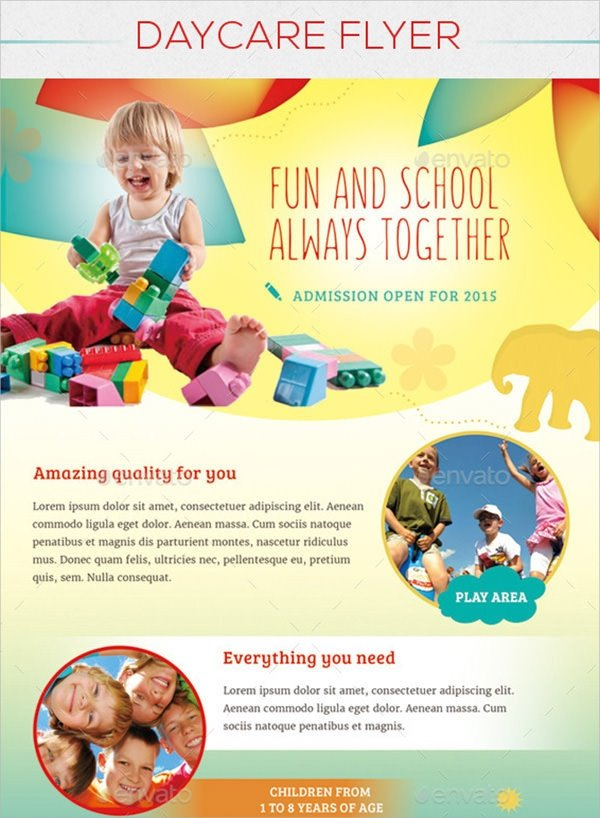 18 Day Care Flyers Word PSD AI EPS Vector