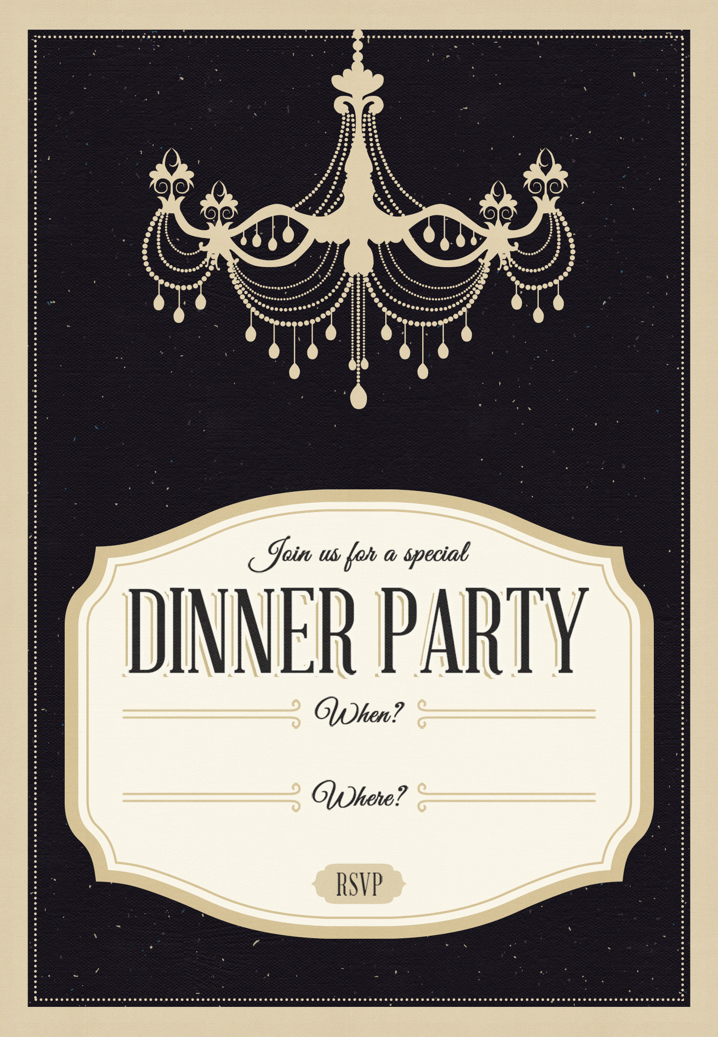 Free Dinner Invitation Templates Classy Chandelier Free Printable Dinner Party Invitation
