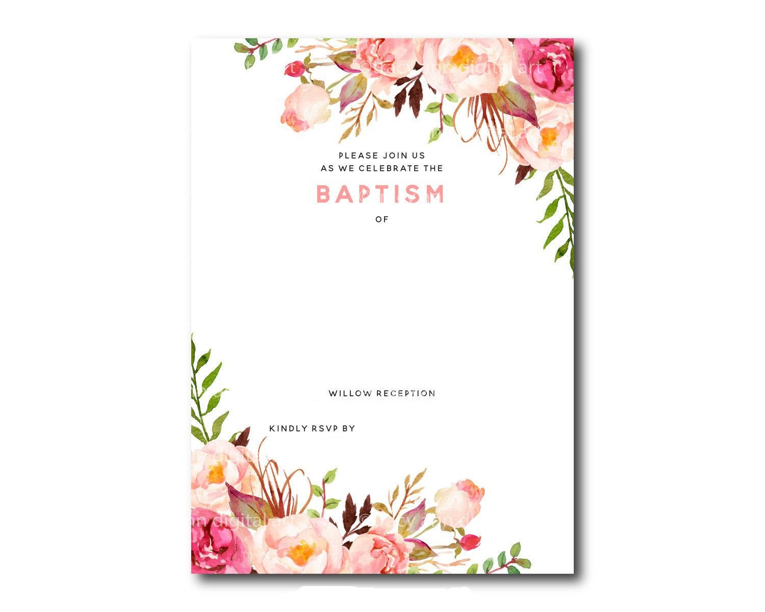 Free Download Invite Templates Awesome Free Template Free Printable Baptism Floral