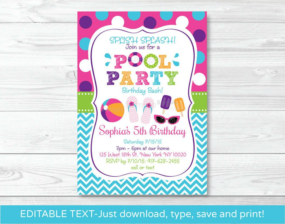Free Download Invite Templates Girls Pool Party Printable Birthday Invitation Editable