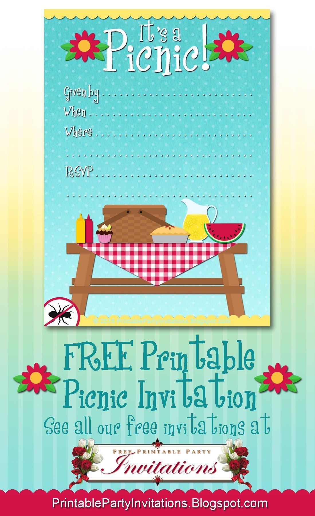 Free Downloadable Picnic Invitation Template Free Printable Picnic Invitation