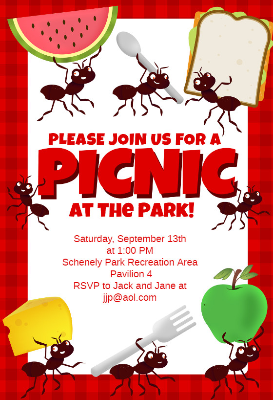 Picnic Party Dinner Party Invitation Template Free