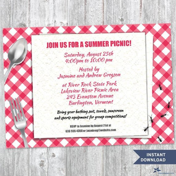 Free Downloadable Picnic Invitation Template Printable Red Gingham Summer Picnic with Ants Party Invitation