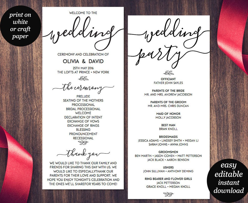 Free Downloadable Wedding Program Templates Wedding Program Template Printable Wedding Program Wedding