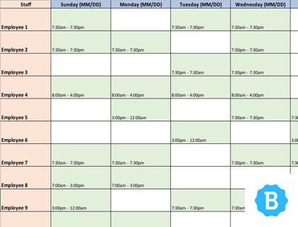 Employee Schedule Template [Free Instant Downloads]