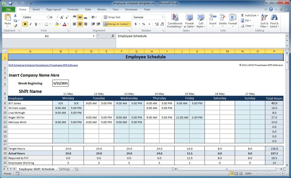 Free Employee Schedule Template Free Employee and Shift Schedule Templates