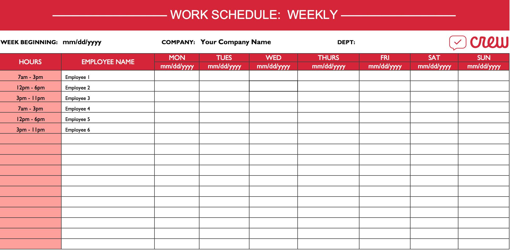 Free Employee Schedule Template Weekly Work Schedule Template I Crew