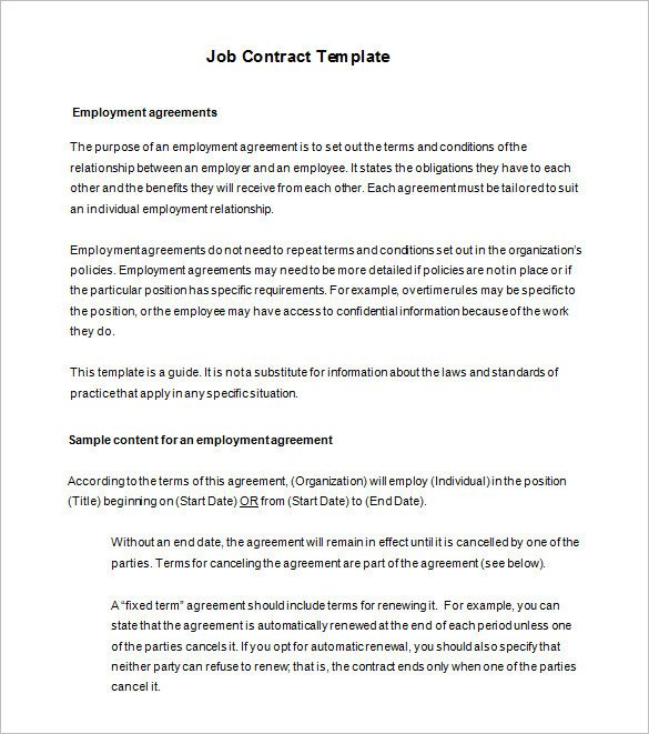 18 Job Contract Templates Word Pages Docs