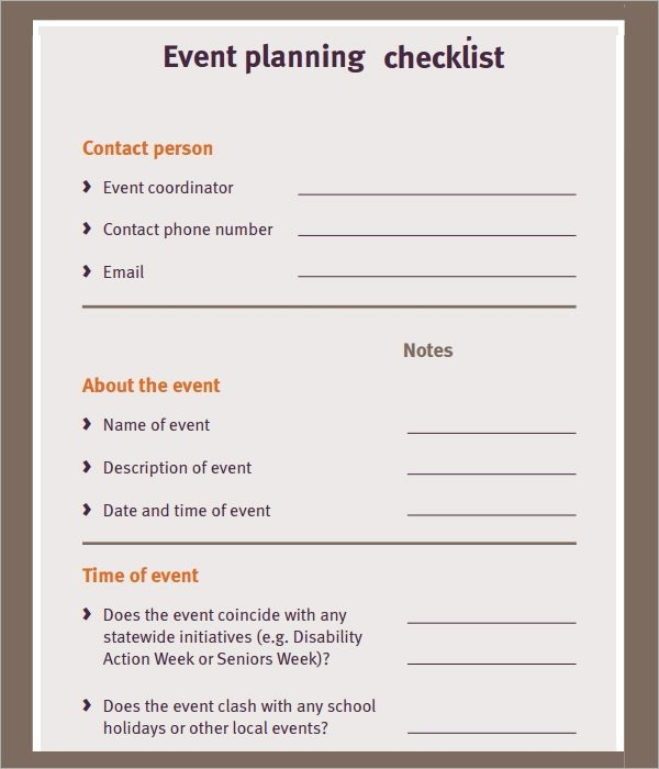 Free event Planning Templates 11 Sample event Planning Checklists Pdf Word