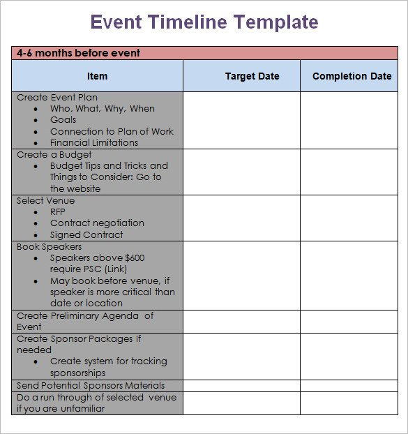 Free event Planning Templates 8 event Timeline Templates Free Sample Example format