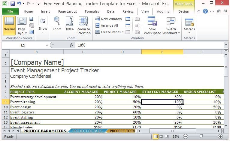 Free event Planning Templates Free event Planning Tracker Template for Excel