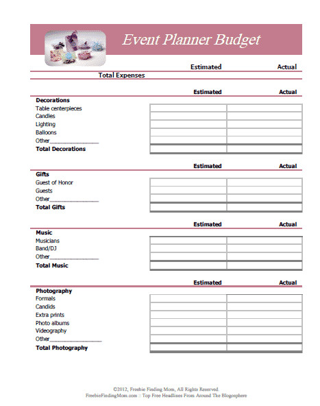 Free event Planning Templates Free Printable Bud Worksheets