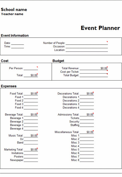 Free event Planning Templates Ms Excel event Planner Template