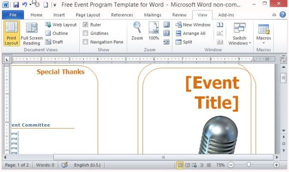 Free event Program Template Free event Program Template for Word