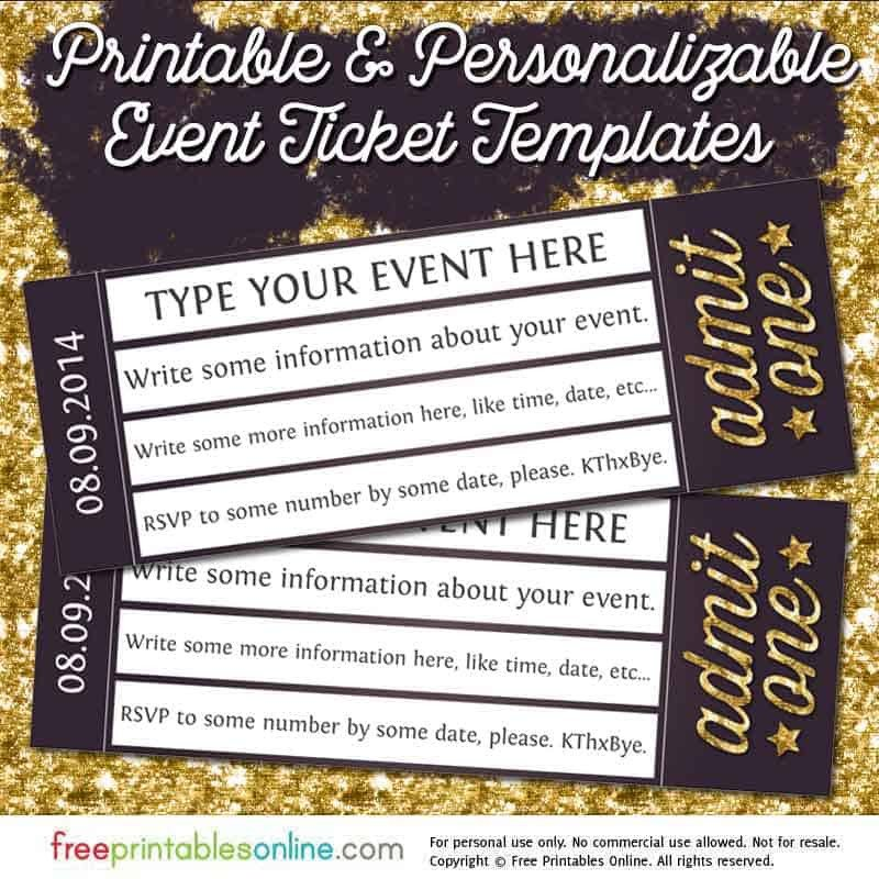 Free event Ticket Template Admit E Gold event Ticket Template