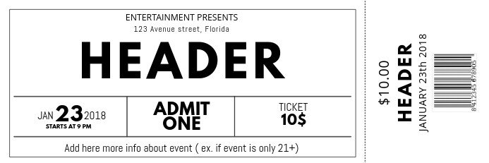 Free event Ticket Template Black and White Free Concert event Ticket Template