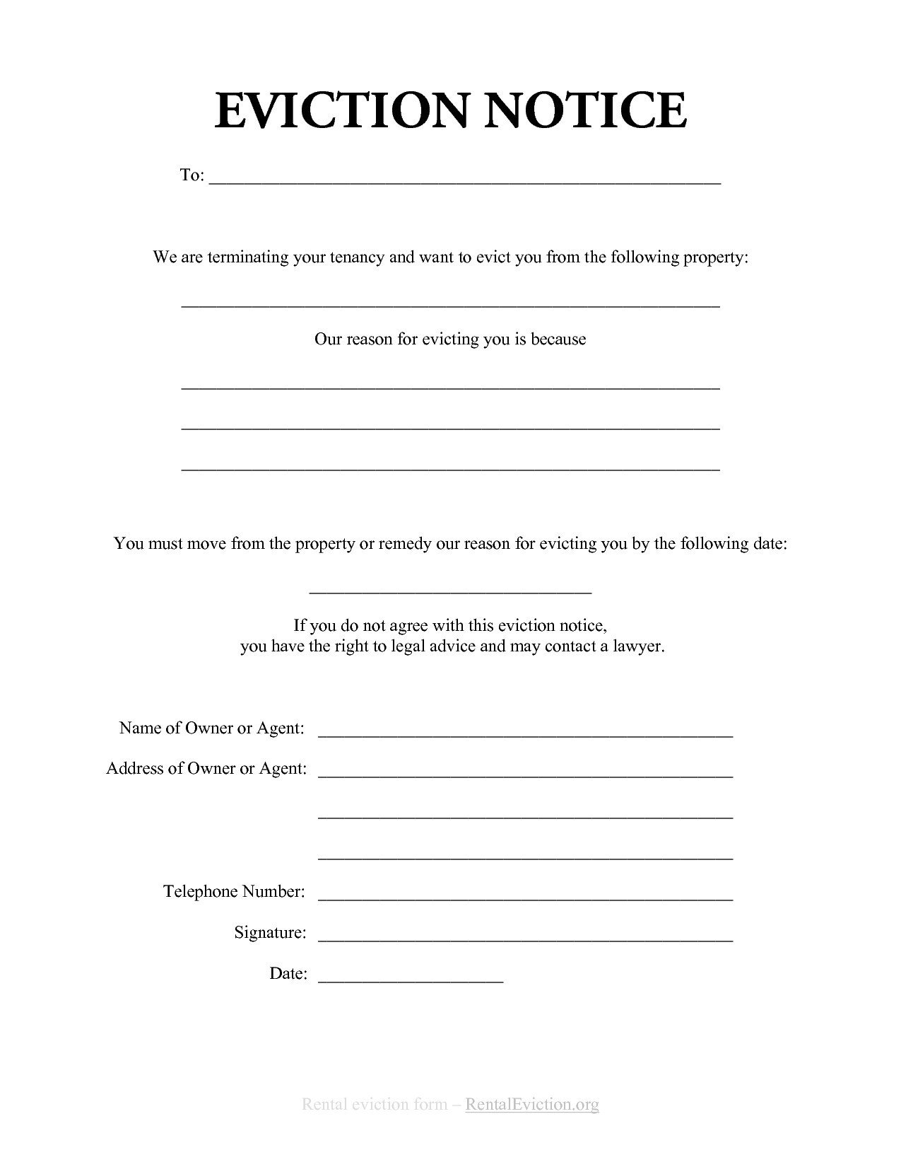 Free Eviction Notice Template Eviction Notice Template