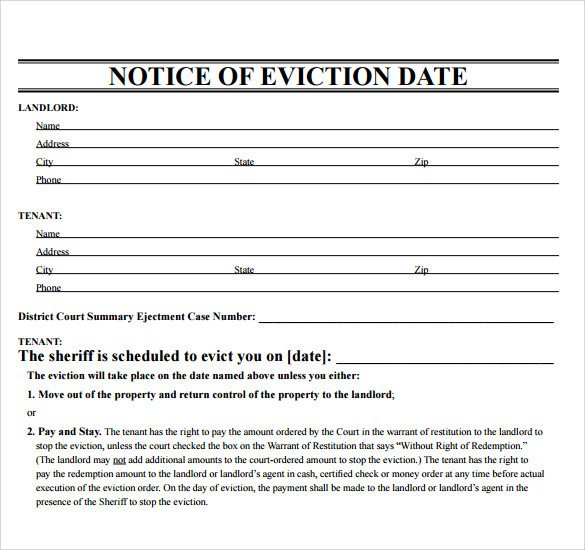 Free Eviction Notice Template Free 38 Eviction Notice Templates In Pdf Doc