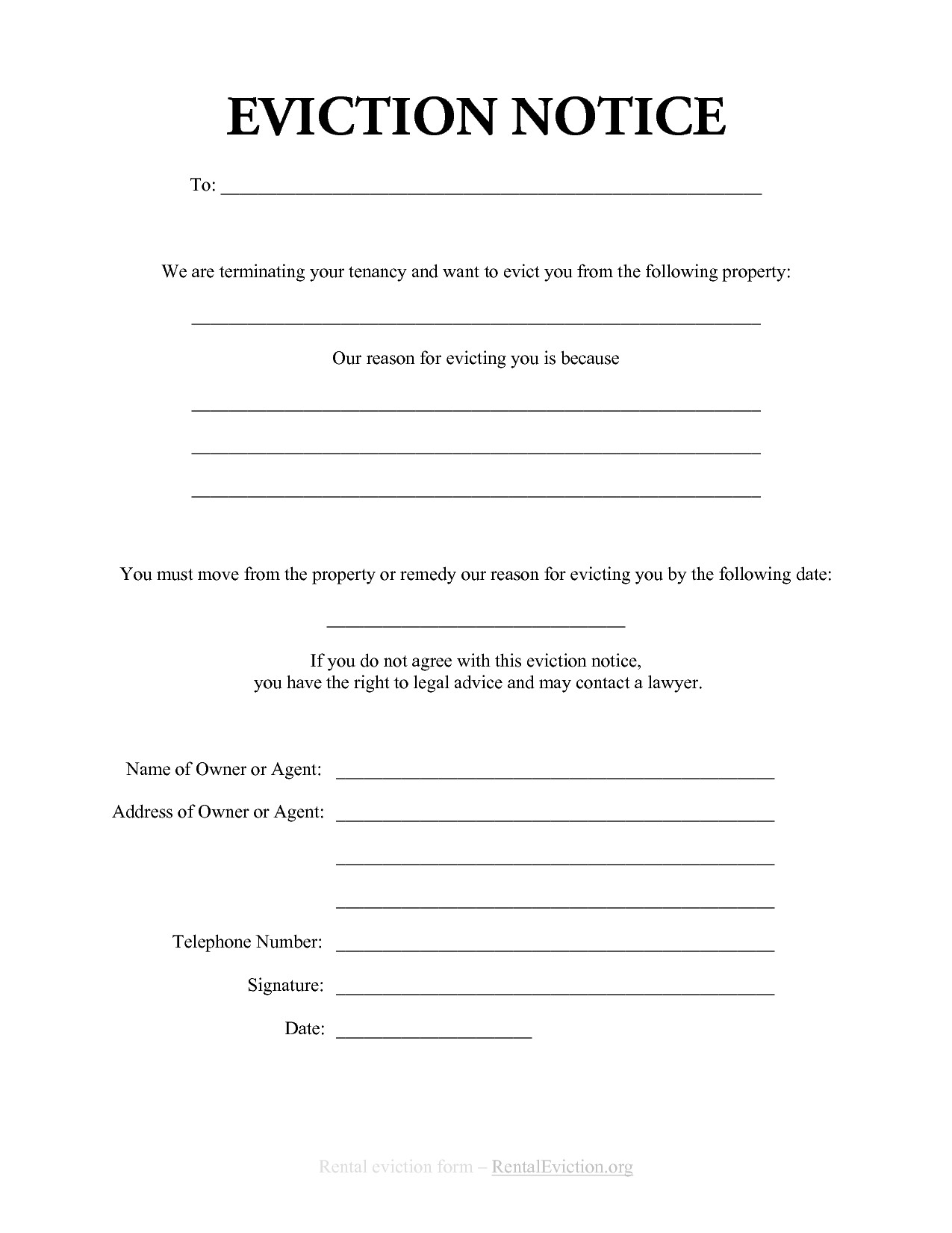 Free Eviction Notice Template Free Print Out Eviction Notices
