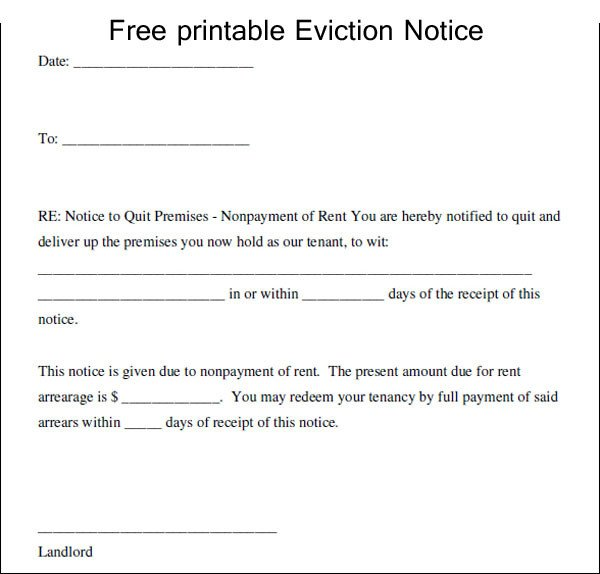 Free Eviction Notice Template Printable Eviction Notice