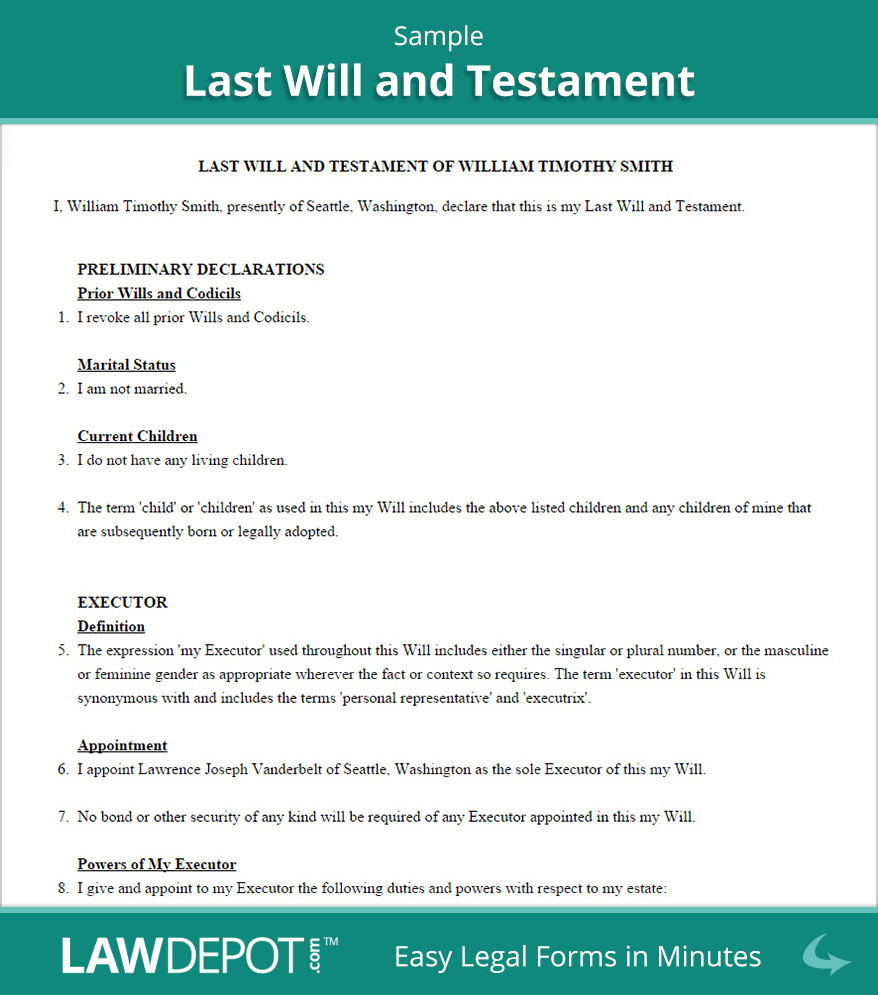 Free Florida Wills Template Last Will and Testament Template