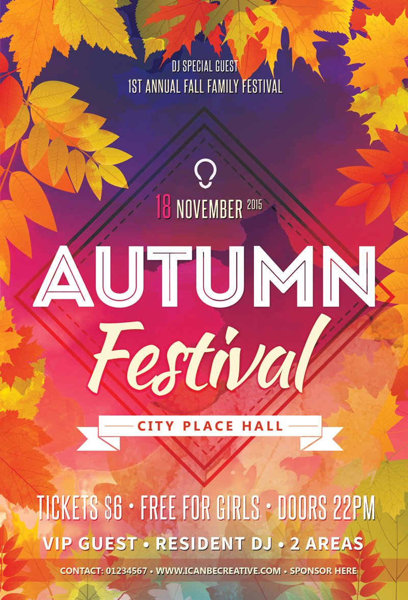 Free Flyer Templates Download Free Psd Flyer Templates for Autumn Сelebration Party