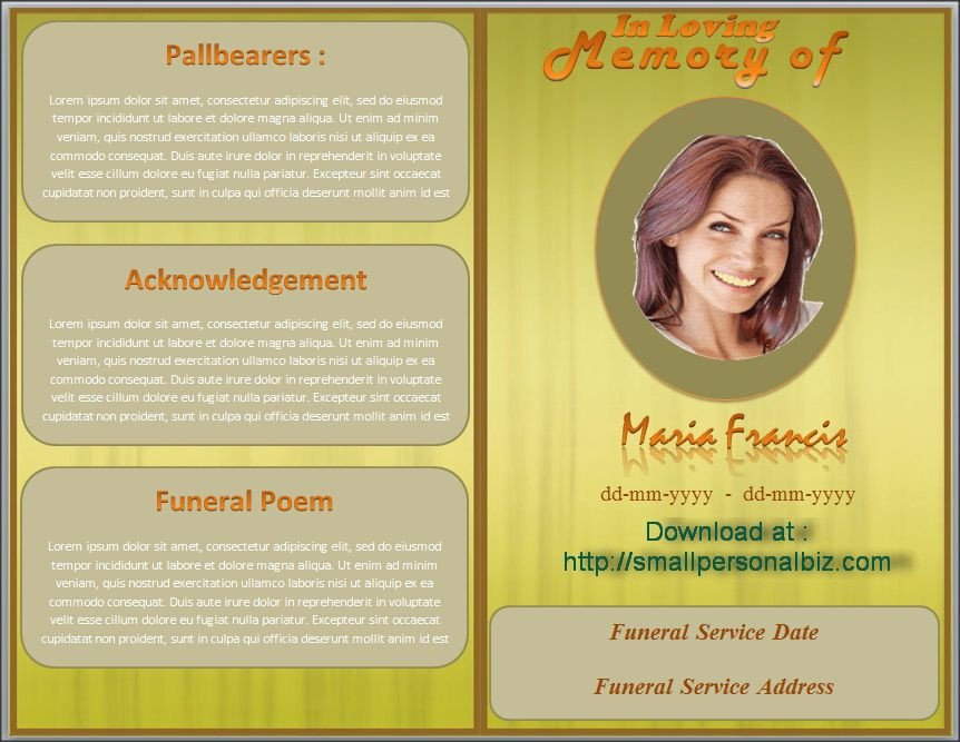 Free Funeral Program Template Word Download Funeral Program Template In Ms Word with Design