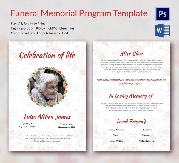 Free Funeral Program Template Word Funeral Program Template 16 Word Psd Document Download