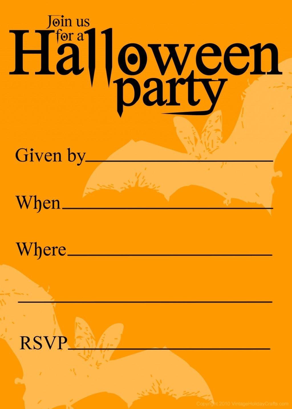 Free Halloween Invitation Templates Free Printable Halloween Birthday Invitations Templates
