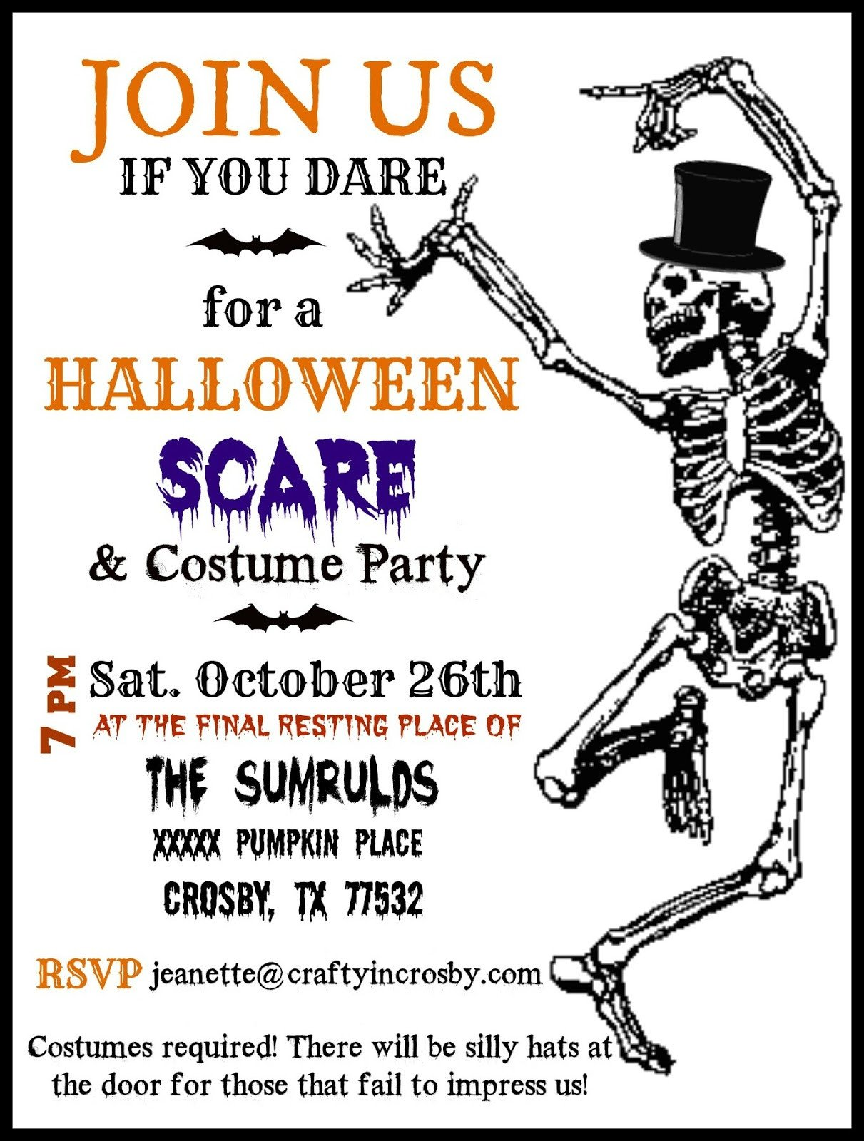 Free Halloween Invite Templates Crafty In Crosby Halloween Party Invitations with Template