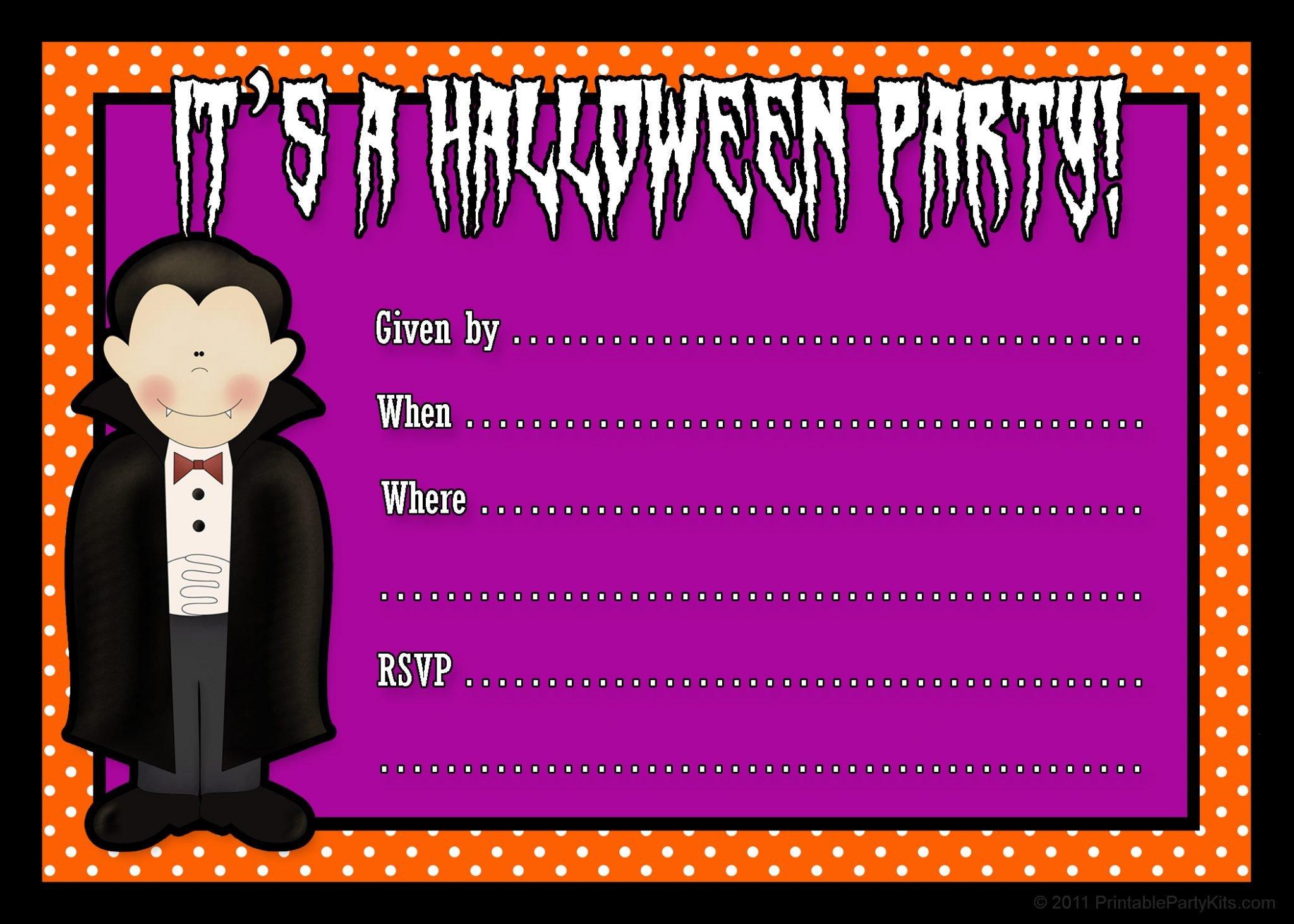 Free Halloween Invite Templates Free Printable Halloween Party Invites