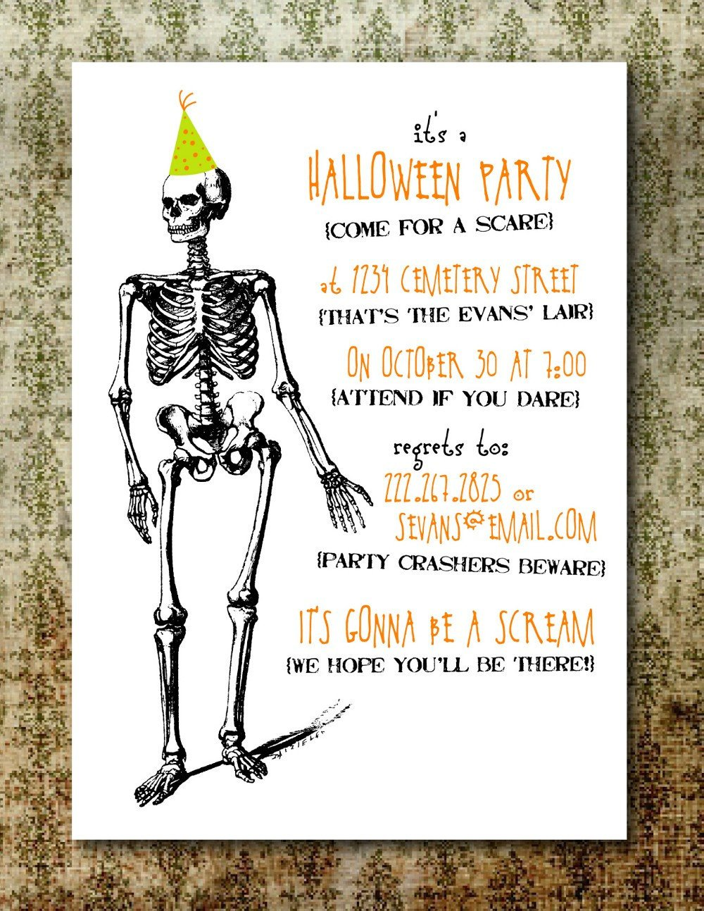Free Halloween Party Invitation Templates Printable Spooky Halloween Party Invitation