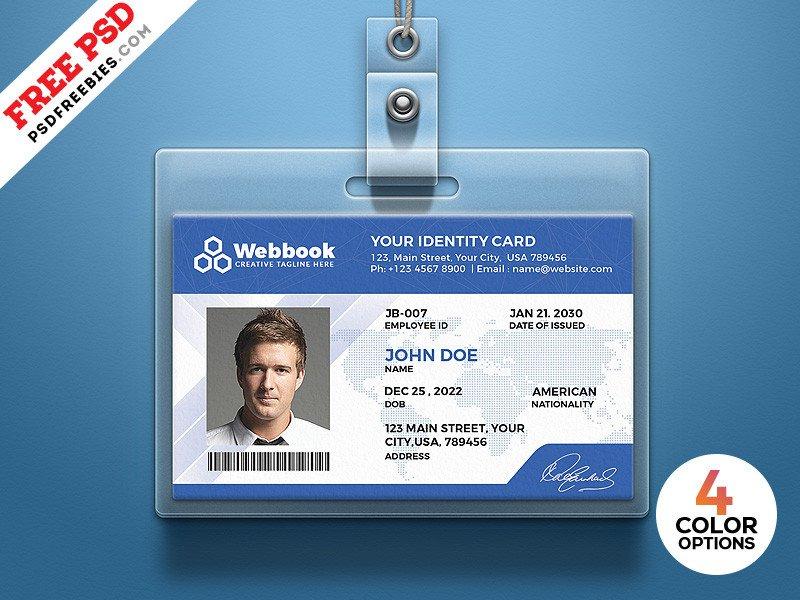 Free Id Badge Template Free Id Card Template Psd Set