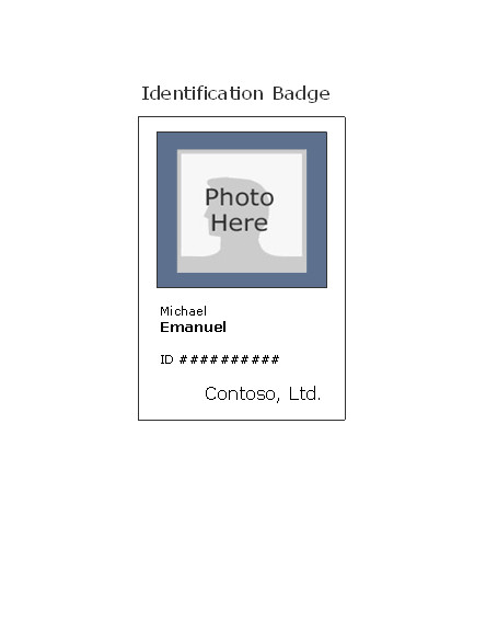 Free Id Card Templates Employee Photo Id Badge Portrait