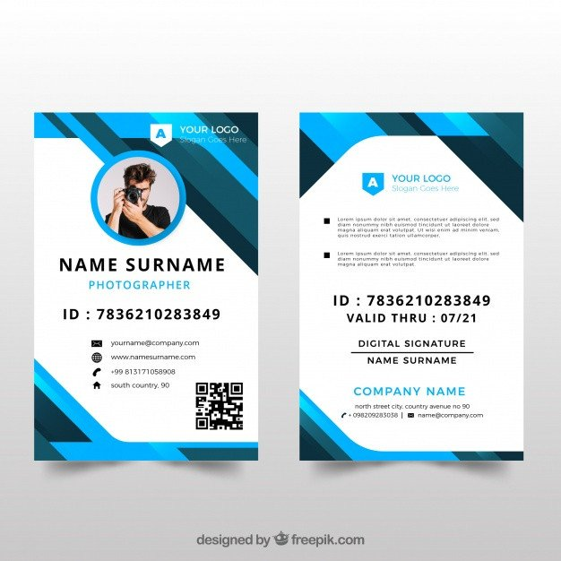 Free Id Card Templates Id Card Template with Flat Design Vector