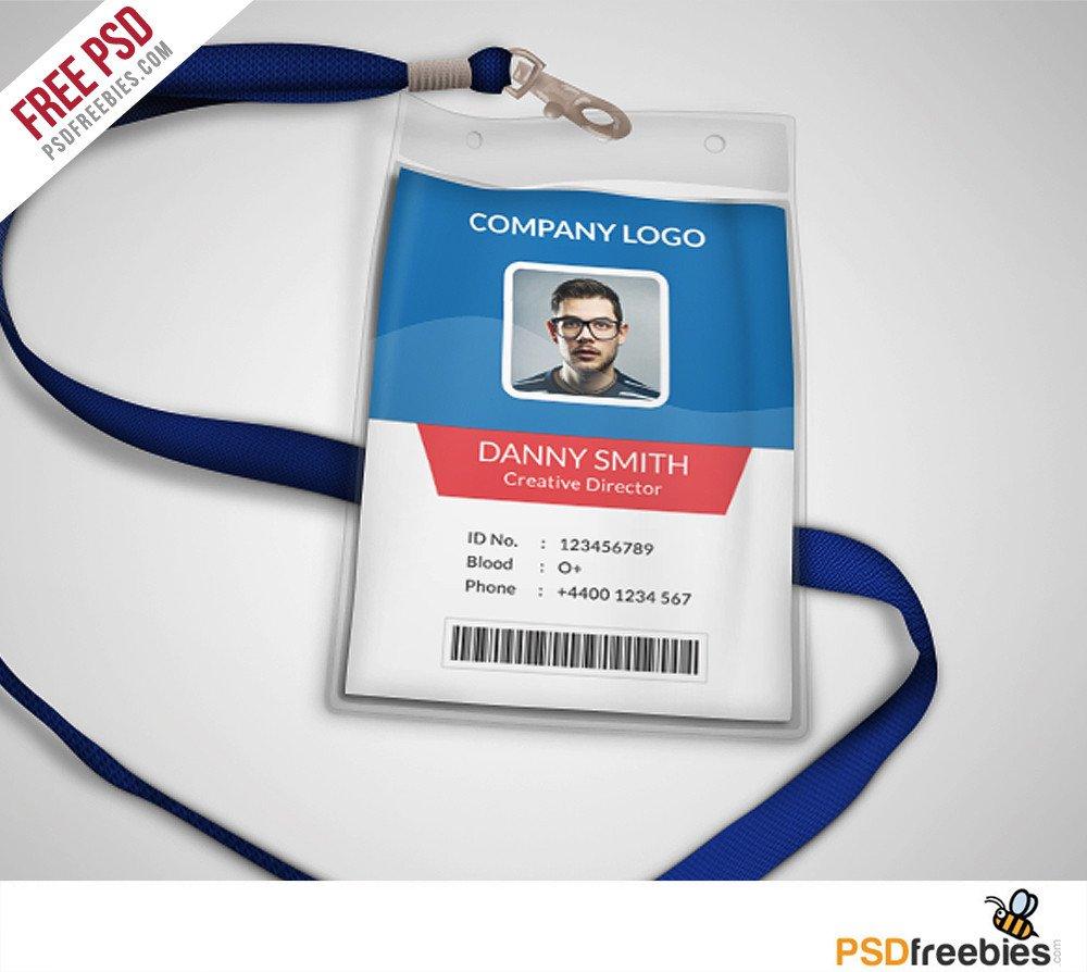 Free Id Card Templates Multipurpose Pany Id Card Free Psd Template
