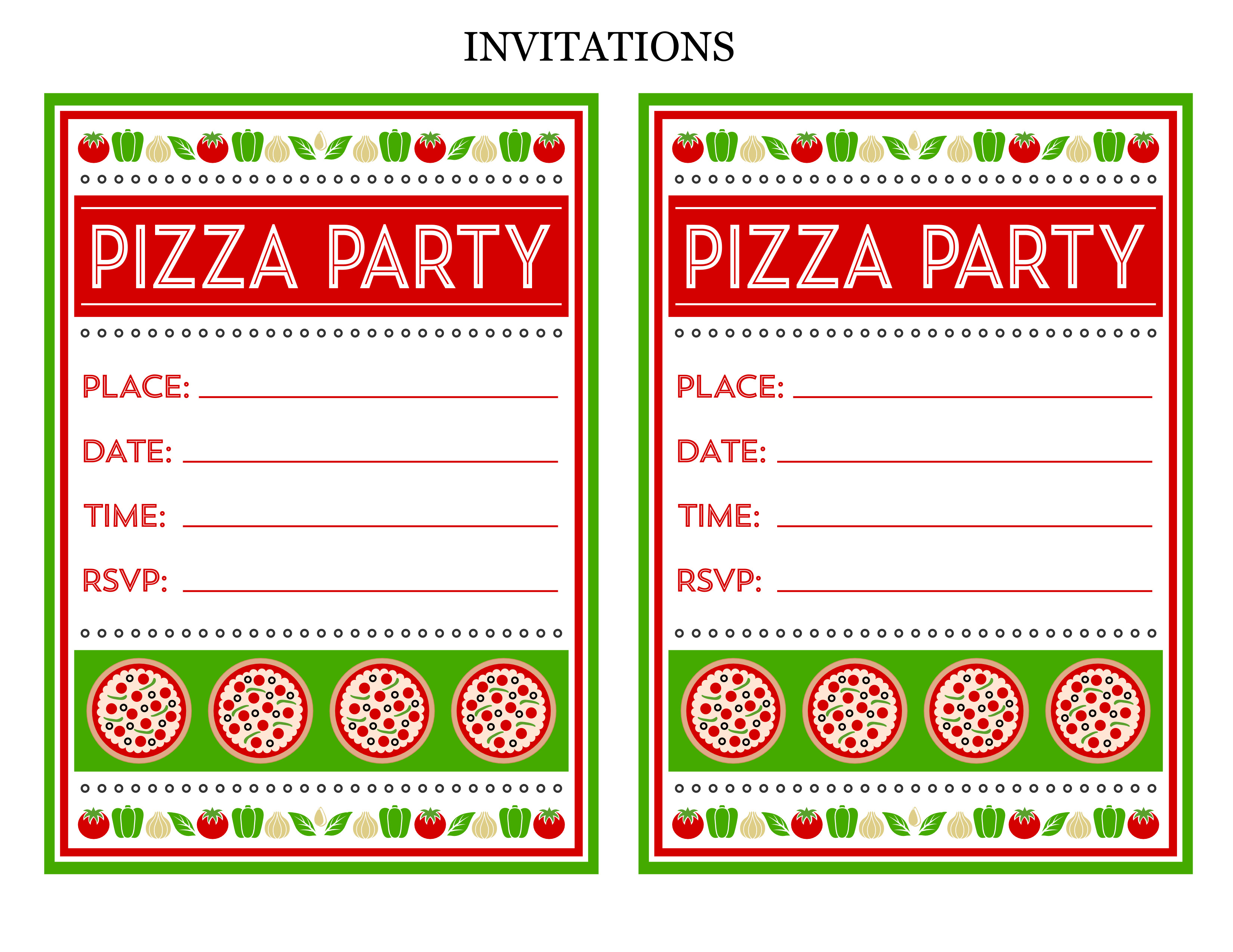 Free Invitation Template Printable Free Pizza Party Printables From Printabelle