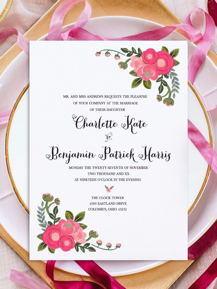 Print Pink Flowers Free Printable Invitation Templates