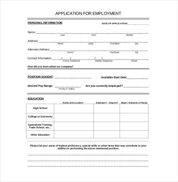 Free Job Application Template 15 Employment Application Templates – Free Sample