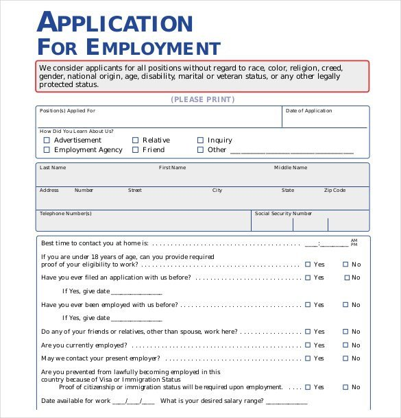 Free Job Application Template 21 Employment Application Templates Pdf Doc