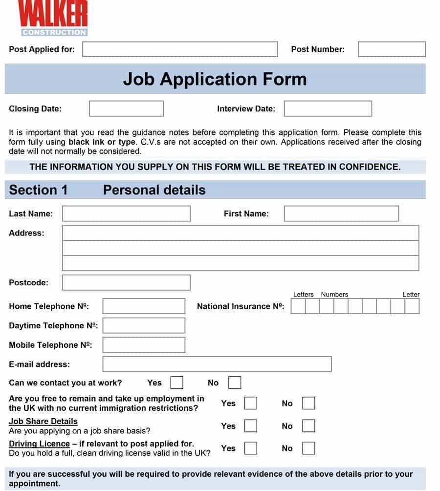 Free Job Application Template 50 Free Employment Job Application form Templates