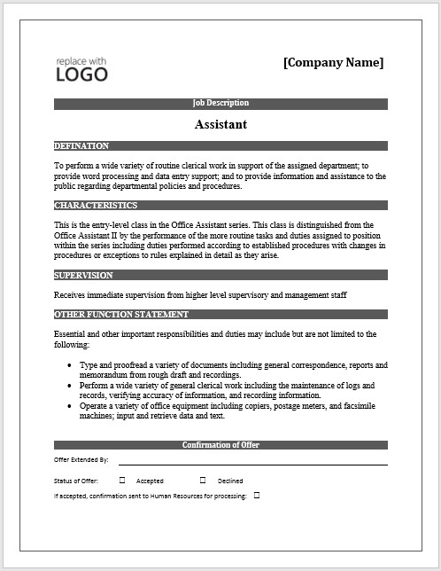 Free Job Description Template 11 Elements Of A Job Description form Small Business