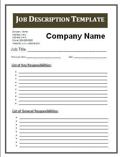 Free Job Description Template 3 Job Description Template
