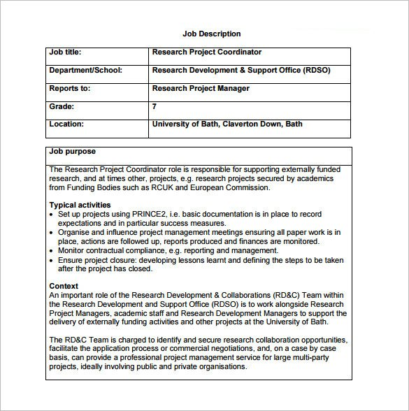 Free Job Description Template 9 Project Coordinator Job Description Templates Free