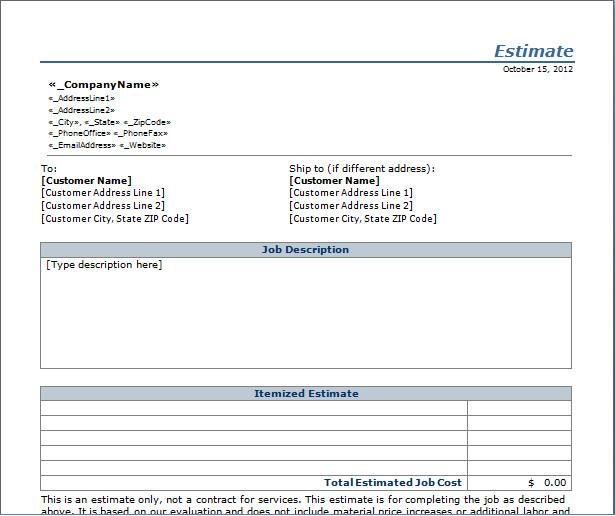 Free Job Estimate Template 7 Best Of Free Printable Estimate Template