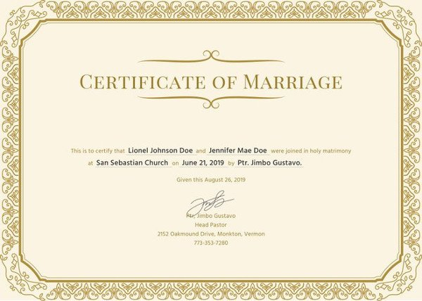 Free Marriage Certificate Template Marriage Certificate Template 11 Word Pdf Psd format