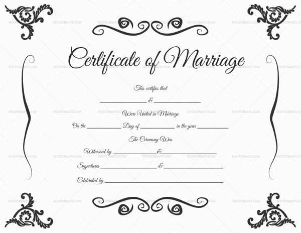 Free Marriage Certificate Template Marriage Certificate Template 22 Editable for Word